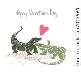 monitor lizards in love   Shutterstock .eps vector #557019961
