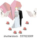 isolated newlyweds with swans... | Shutterstock .eps vector #557023309
