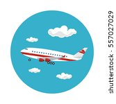airplane flying in the sky... | Shutterstock .eps vector #557027029