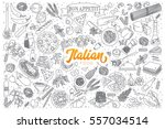 hand drawn set of italian food... | Shutterstock .eps vector #557034514