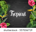 invitation card with tropical... | Shutterstock .eps vector #557036719