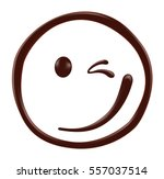 Chocolate Smiley Face On White...