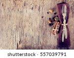 winter holiday dinner plate... | Shutterstock . vector #557039791