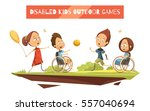 outdoor games of disabled kids... | Shutterstock .eps vector #557040694