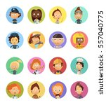 cartoon avatars set of people... | Shutterstock .eps vector #557040775