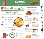 sawmill forestry infographics... | Shutterstock .eps vector #557040925