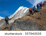 mountain climbers team with... | Shutterstock . vector #557043535