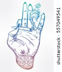 tattooed hand holding a weed... | Shutterstock .eps vector #557049541