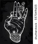 tattooed hand holding a weed... | Shutterstock .eps vector #557049655