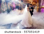 groom holds bride's hands... | Shutterstock . vector #557051419