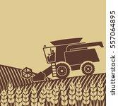 combine harvester in field  ...   Shutterstock . vector #557064895