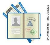 an open foreign passport and... | Shutterstock .eps vector #557068321