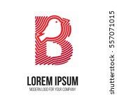 logo letter b with bird inside... | Shutterstock .eps vector #557071015