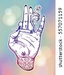 tattooed hand holding a weed... | Shutterstock .eps vector #557071159