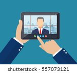 hands with tablet pc. director... | Shutterstock .eps vector #557073121