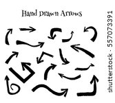 hand drawn arrows set.... | Shutterstock .eps vector #557073391