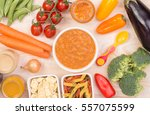 vegetable soup for a baby  | Shutterstock . vector #557075599