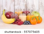 fruit smoothies for a baby  | Shutterstock . vector #557075605