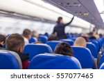 interior of airplane with... | Shutterstock . vector #557077465