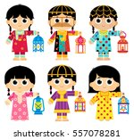girls are wearing an old... | Shutterstock .eps vector #557078281