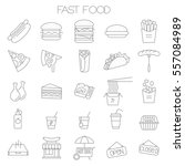 thin line flat fast food menu... | Shutterstock .eps vector #557084989