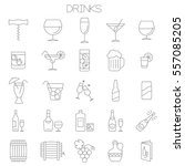 thin line flat design wine ... | Shutterstock .eps vector #557085205
