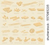 italian pasta guide  shapes and ... | Shutterstock .eps vector #557085235