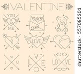 thin line flat design hipster... | Shutterstock .eps vector #557085301