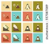 assembly flat icons mountains... | Shutterstock .eps vector #557087089