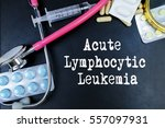 Small photo of Acute Lymphocytic Leukemia word, medical term word with medical concepts in blackboard and medical equipment.