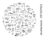 hand drawn doodle fast food...   Shutterstock .eps vector #557107021