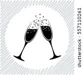 champagne glasses vector icon   ... | Shutterstock .eps vector #557110261