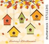 hooray  birdhouses  five cute... | Shutterstock .eps vector #557111341