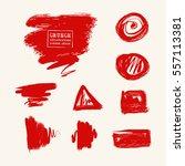 vector set of blood red brush... | Shutterstock .eps vector #557113381