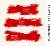 Vector Set Of Blood Red Brush...