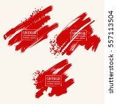 vector set of blood red brush... | Shutterstock .eps vector #557113504