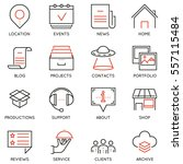 vector set of 16 linear quality ... | Shutterstock .eps vector #557115484