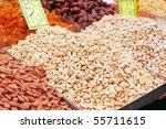 nuts and dry fruits on market...   Shutterstock . vector #55711615