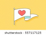 vintage flag with red heart... | Shutterstock . vector #557117125