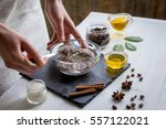 organic scrub handmade at home... | Shutterstock . vector #557122021