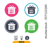 10  sale gift box tag sign icon....   Shutterstock .eps vector #557122285