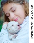 Small photo of girl hugging a puppy American pit bull Terrier