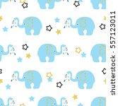 cute blue elephants seamless... | Shutterstock .eps vector #557123011