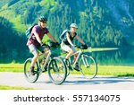 cycling seniors in austria | Shutterstock . vector #557134075