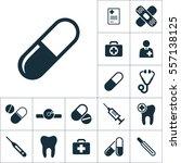pill icon black on white... | Shutterstock .eps vector #557138125