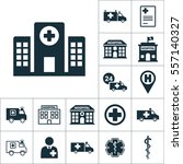 hospital building front icon ... | Shutterstock .eps vector #557140327