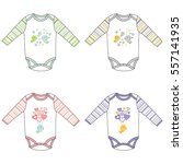 long sleeve baby bodysuits with ...   Shutterstock .eps vector #557141935