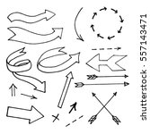 the drawn arrows set in vector. | Shutterstock .eps vector #557143471