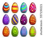 Big Set With Cartoon Easter Eggs