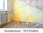 destroyed dirty empty yellow... | Shutterstock . vector #557152831